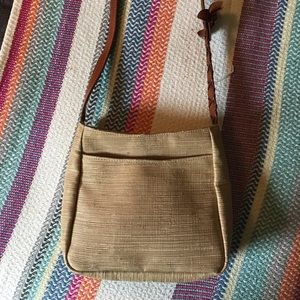 MAXX New York Linen & leather shoulder bag